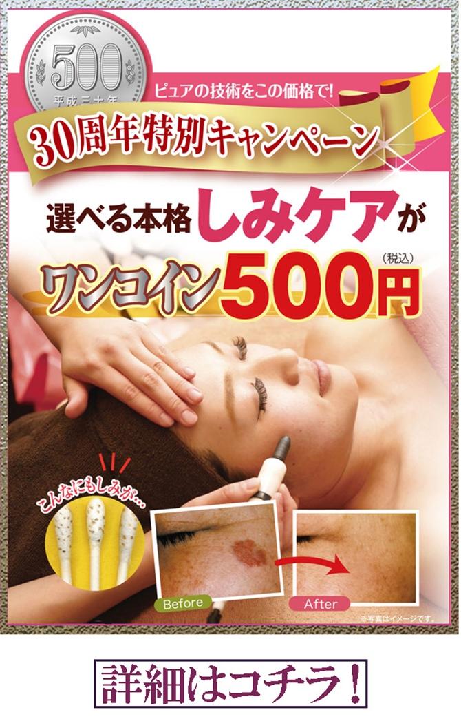 しみケアワンコイン特別体験500円!奈良のしみしわ対策エステはピュア