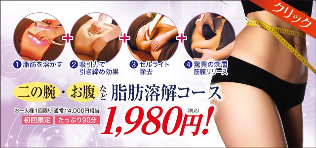 脂肪溶解ボディー徹底痩身コース1980円 痩身専門エステピュアスリム奈良