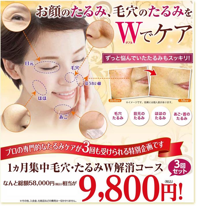 「徹底たるみ&毛穴ケア1ヶ月コース9800円」はコチラ!